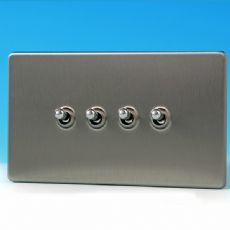 Varilight 4 Gang 10A 1 or 2 Way Dolly Toggle Light Switch Screwless Matt Chrome Finish XDST9S